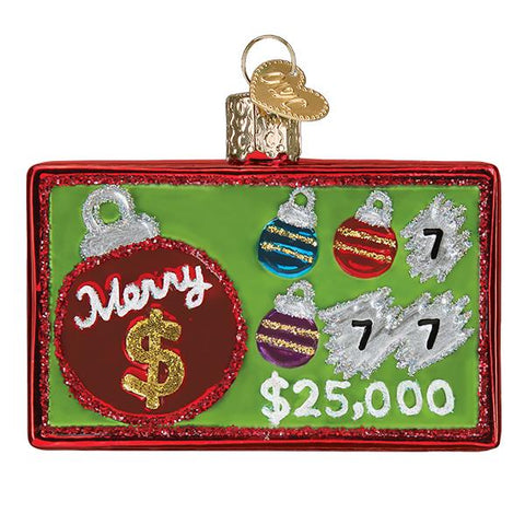 Glass Merry Ticket Scratch Ticket Christmas tree ornament