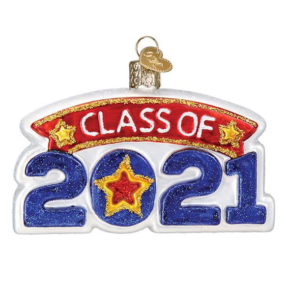 Glass Class of 2021 Christmas tree ornament.