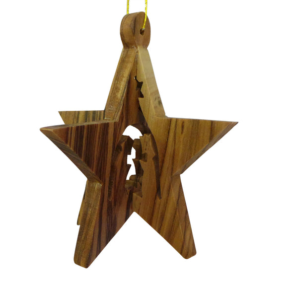3D Star with Nativity Ornament for Christmas Tree