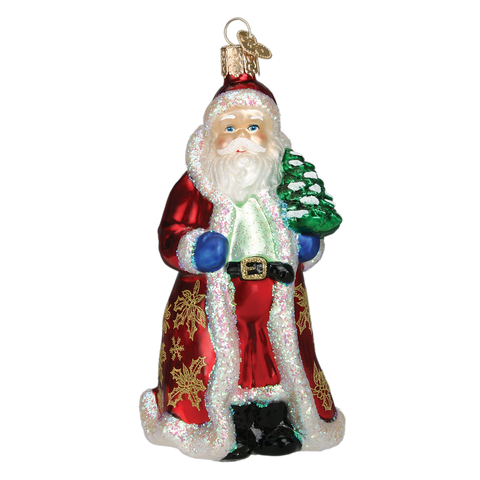 Glistening Golden Santa Glass Old World Christmas Ornament