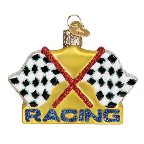 Glass Racing Flags Christmas tree ornament