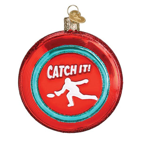Glass Sports Disc Christmas tree ornament