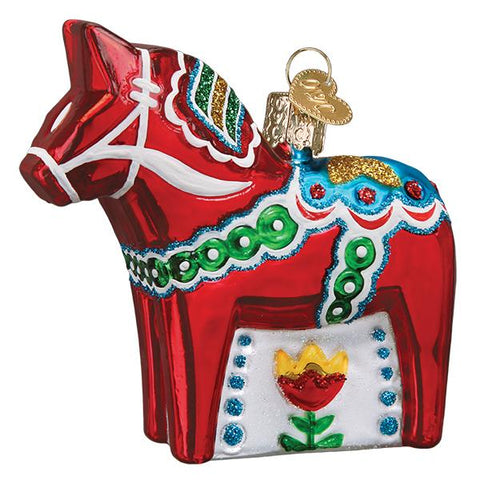 Glass Swedish Dala Horse Christmas tree ornament