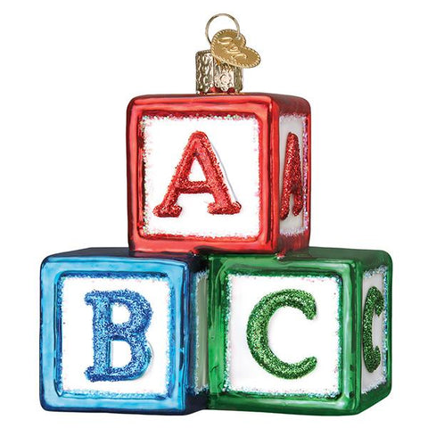 Glass ABC Block Ornament for a new baby in the family for the Christmas tree