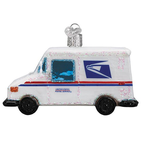 Glass USPS Mail Truck Christmas tree ornament