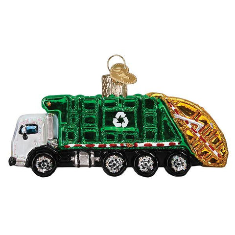 Glass Garbage Truck Christmas tree ornament
