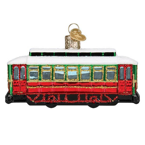 Glass Trolley Christmas tree ornament