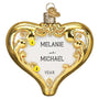 50th Anniversary Glass Heart Christmas Ornament