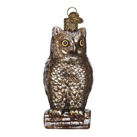 Vintage Wise Old Owl Christmas Ornament Blown Glass Old World Christmas Ornament