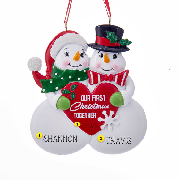 our first christmas together snowman couple ornament callisters