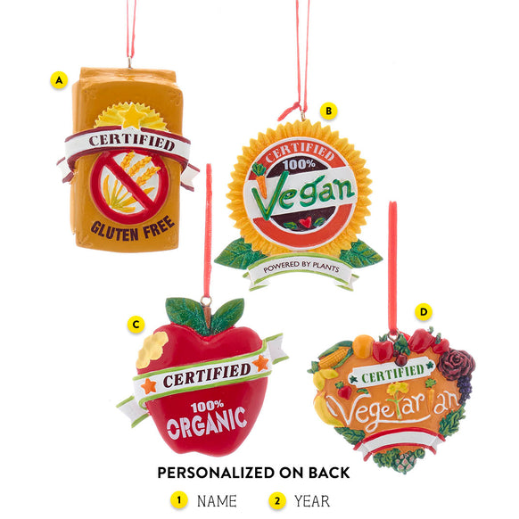Health Food Ornaments Choose From Gluten Free,Organic,Vegan and Vegetarian For Christmas Tree