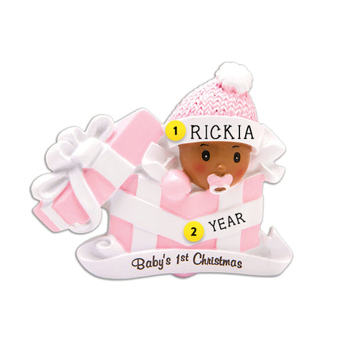 Baby Girl's 1st Christmas Present Ornament - African-American Female