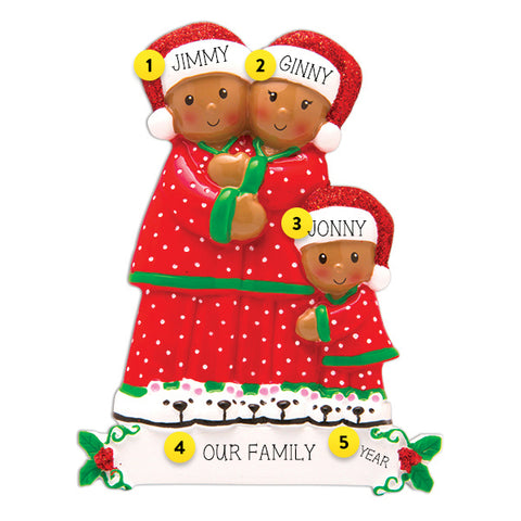 Pajama Family of 3 African American Ornament