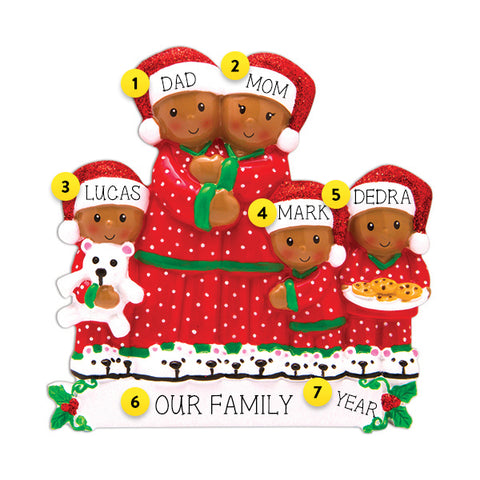 Pajama Family of 5 African American Ornament