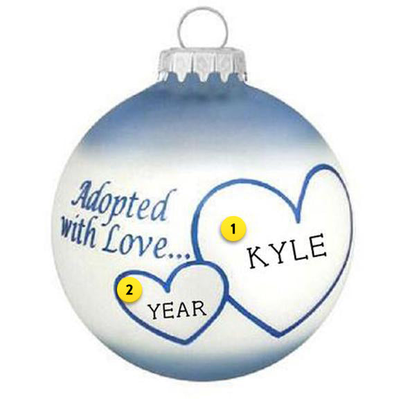 Adopted with Love Ornament - Blue