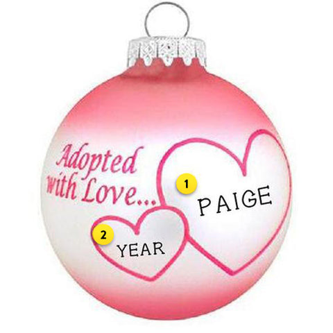 Adopted with Love Ornament - Pink