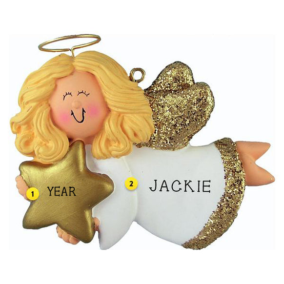 Angel with Star Ornament - Female, Blond Hair