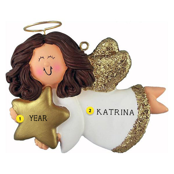 Angel with Star Ornament - Female, Brown Hair