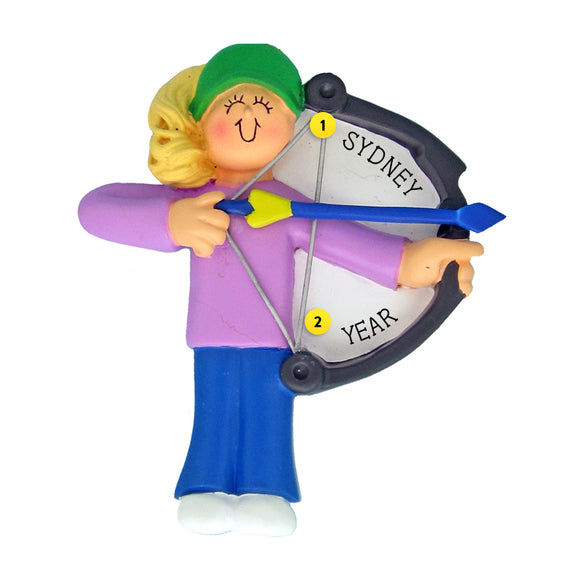 Archery Ornament - Female, Blond Hair for Christmas Tree