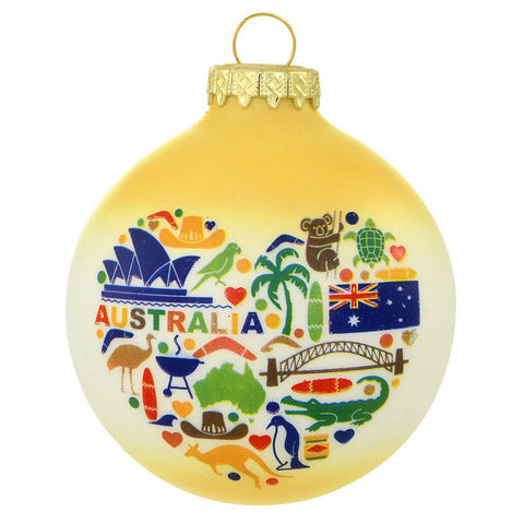 Australia  Christmas Ornament with flag, koala bear, Sydney Opera House and map glass ornament personalized