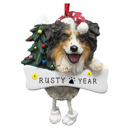 Australian Shepherd Dog Ornament for Christmas Tree