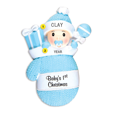 Baby Boy's 1st Christmas Mitten Ornament