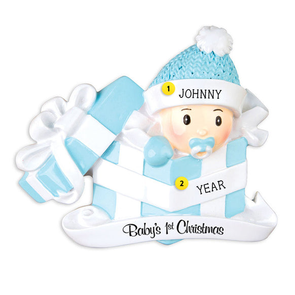 Baby Boy's 1st Christmas Present Ornament for Christmas Tree