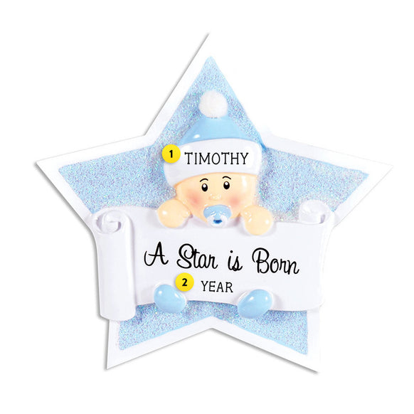 Baby Boy's 1st Christmas Star Ornament for Christmas Tree