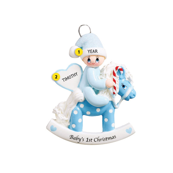 Baby Boy's 1st Christmas Rocking Horse Ornament