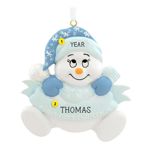 Baby Boy's 1st Christmas Snowbaby Ornament for Christmas Tree