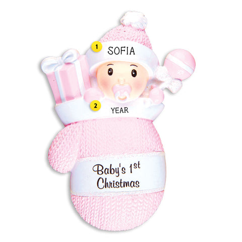 Baby Girl's 1st Christmas Mitten Ornament