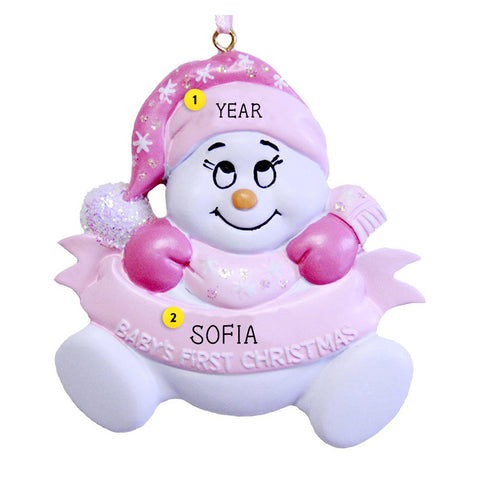 Baby Girl's 1st Christmas Snowbaby Ornament for Christmas Tree
