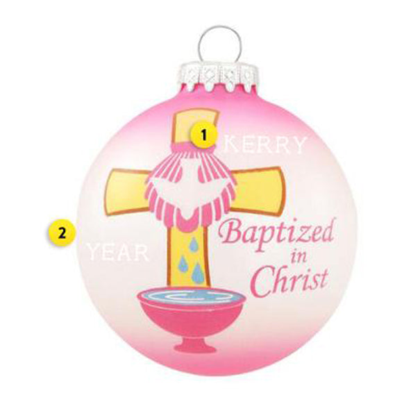 Baptized Ornament - Pink for Christmas Tree