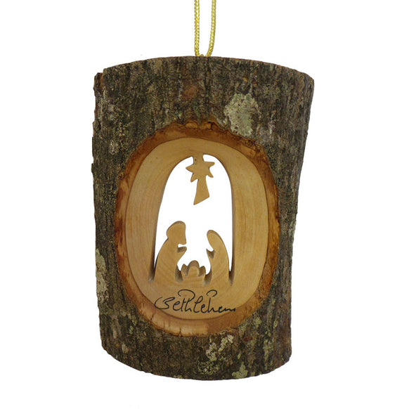 Bark with Nativity Ornament