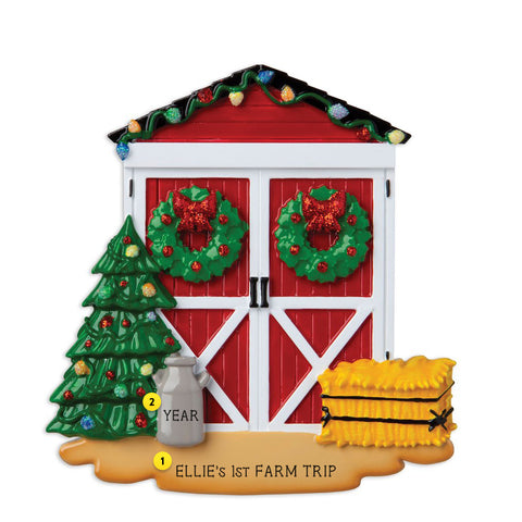 Christmas Decorated Barn Door Resin Ornament