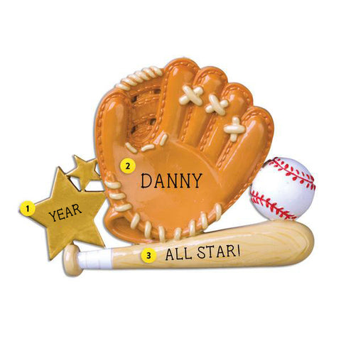 Baseball mitt ball and glove ornament
