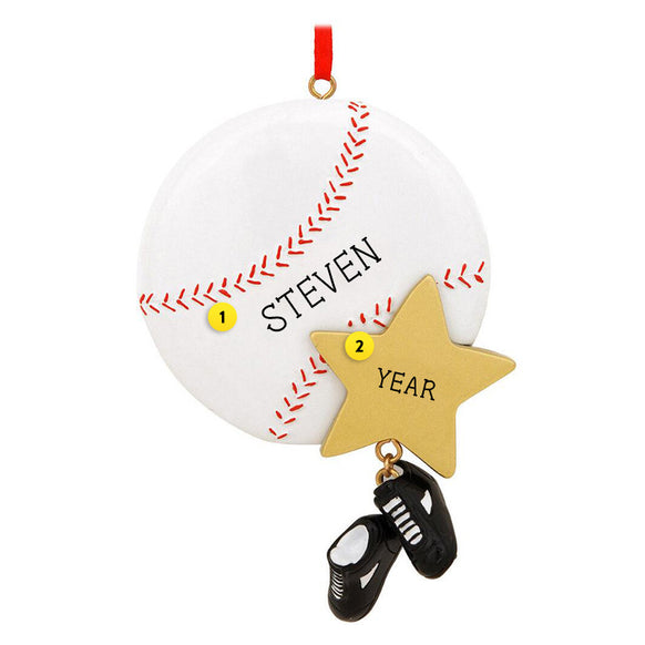 Baseball with Star Ornament for Christmas Tree