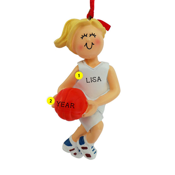 Basketball Ornament - White Female, Blond Hair for Christmas Tree