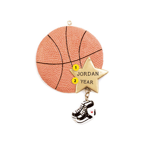 Basketball with Star Ornament For Christmas Tree