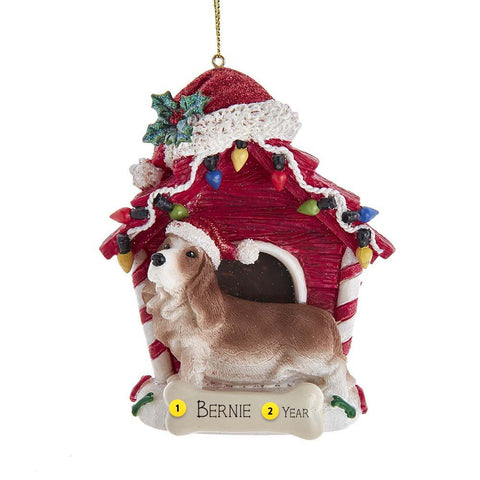 Bassett Hound in Dog House Christmas Tree Ornament