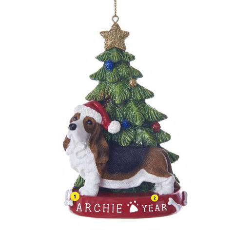 Bassett Hound Dog Ornament For Christmas Tree