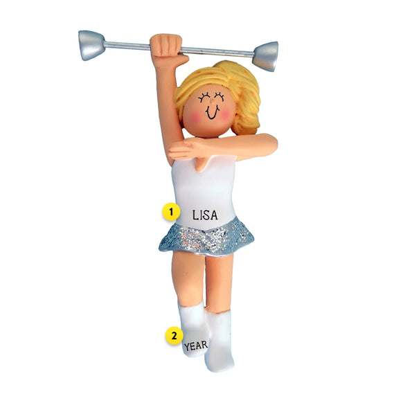 Baton Twirler Ornament - Blond Female for Christmas Tree