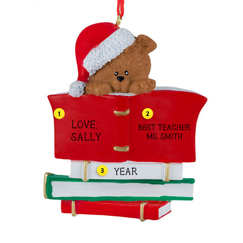 Bear with Books Ornament for Christmas Tree