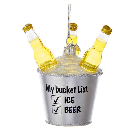 Beer Bucket List Glass Ornament for Christmas Tree