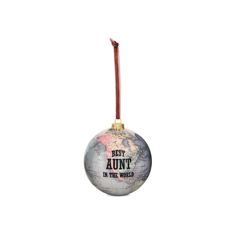Best Aunt in the World Globe Ornament for Christmas Tree