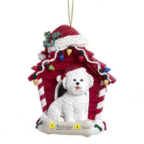 Bichon Frise in Dog House Christmas Tree Ornament