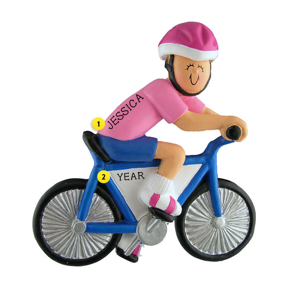 Bicyclist Ornament - Female for Christmas Tree