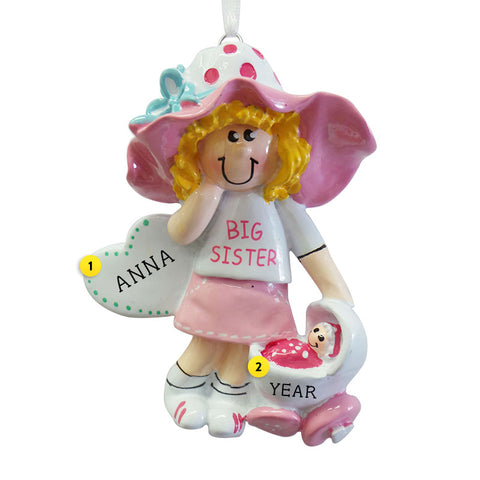 Big Sister with Baby Carriage Ornament - Blond Hair