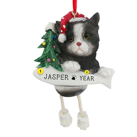 Black & White Cat Ornament for Christmas Tree