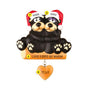 Black Bear Couple Sitting on a Log Ornament for Christmas Tree